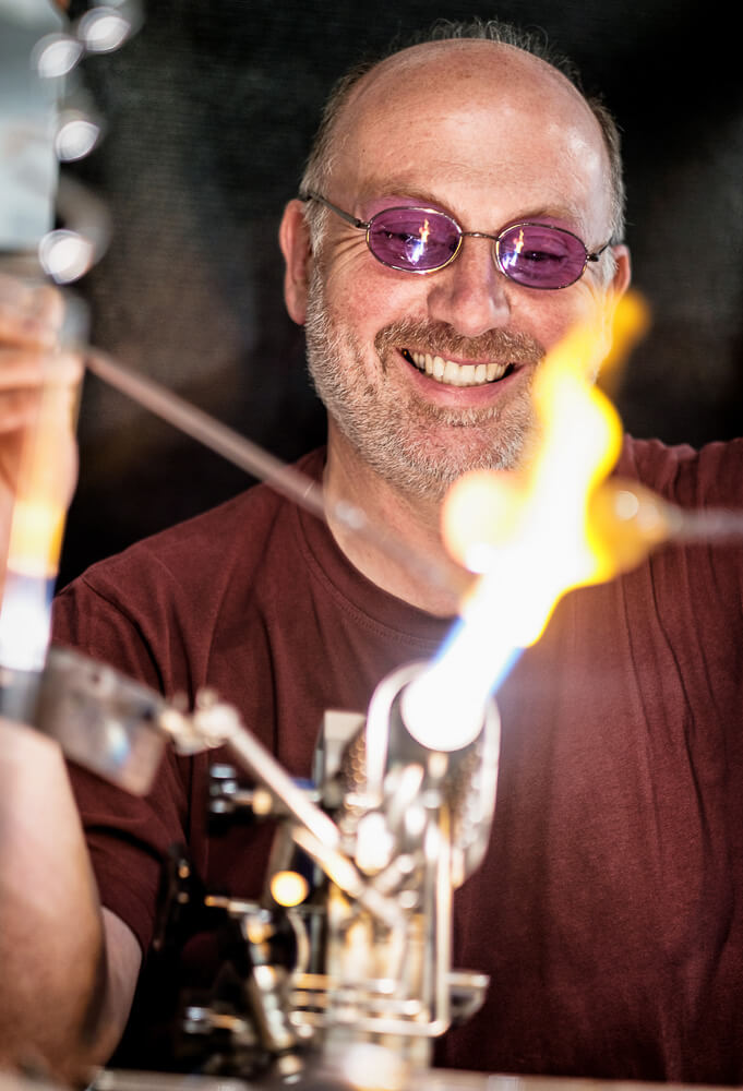 This picture shows me, Josef Haimerl, shop owner and glassblower, at work.